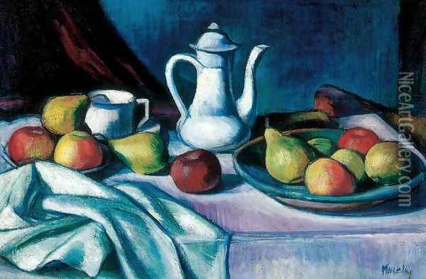 Still life with Jar and Fruit Oil Painting - Janos Kmetty