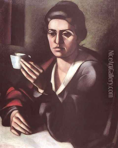 Woman with a Cup 1916 Oil Painting - Janos Kmetty
