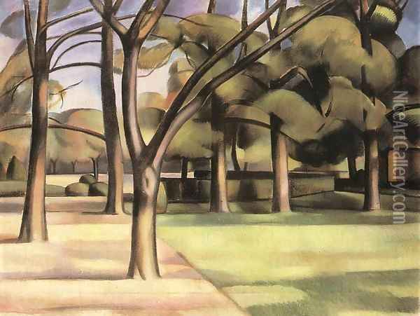 Trees (View of the City Garden) 1911 Oil Painting - Janos Kmetty
