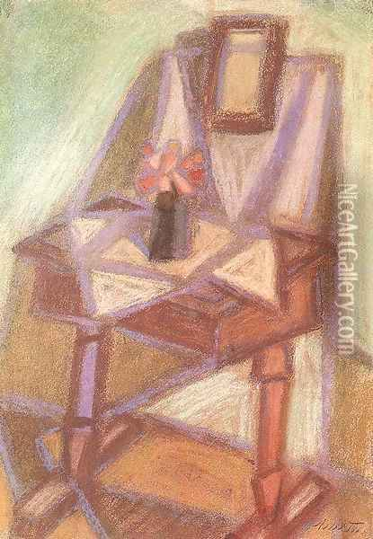 Side table with Mirror 1951 Oil Painting - Janos Kmetty