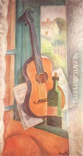 Still life with Guitar 1932 Oil Painting - Janos Kmetty