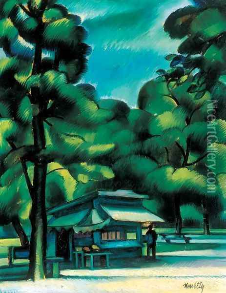 City Park Oil Painting - Janos Kmetty