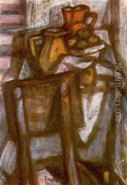 Laid Table 1950 Oil Painting - Janos Kmetty