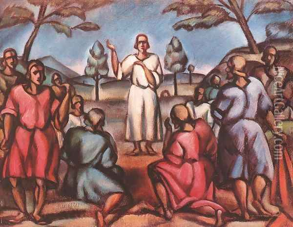 Sermon on the Mountain 1916 17 Oil Painting - Janos Kmetty