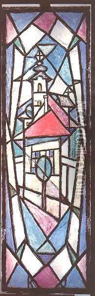 Triple Stained Glass Window I 1972 73 Oil Painting - Janos Kmetty