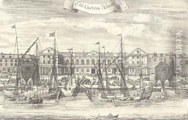 Somerset House; Westminster Abbey; St James House; The Prospect of White-hall, from the Park of St. James; St Bartholomews Hospital, in Smithfield; Th Oil Painting - Johannes Kip