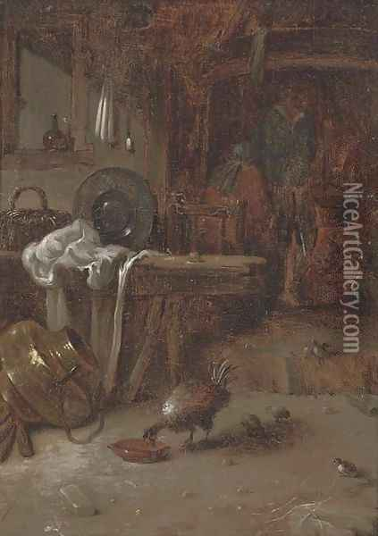 A kitchen interior with a couple by a fire, a hen and its chicks in the foreground Oil Painting - Willem Kalf