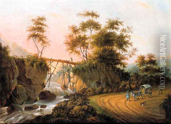 Peasants returning from a market on a road by a waterfall in an Italianate landscape Oil Painting - Joseph Augustus Knip