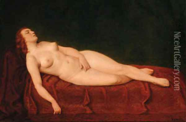 A reclining nude Oil Painting - Friedrich Emil Klein