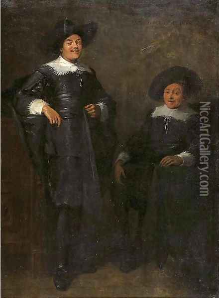 Portrait of two gentlemen, said to be Jan Tulp and Dirck Ruykhaver, full lengths, wearing black costumes with lace collars and cuffs and black hats Oil Painting - Thomas De Keyser