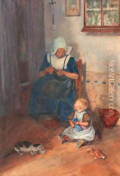 An interior scene with a woman knitting Oil Painting - Heinrich Martin Krabb