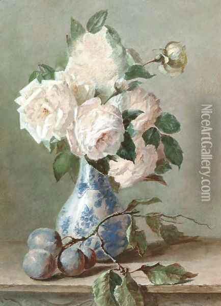 White roses in a blue and white vase Oil Painting - Catharina Kiers