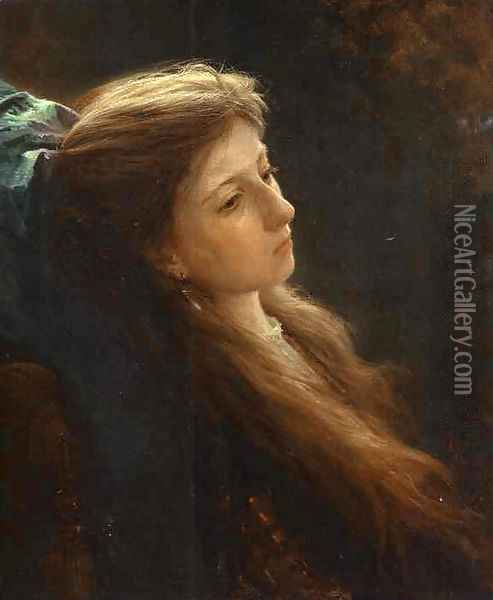 Girl With A Tress Oil Painting - Ivan Nikolaevich Kramskoy