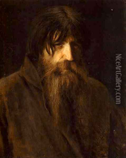 Head Of An Old Peasant (study) Oil Painting - Ivan Nikolaevich Kramskoy
