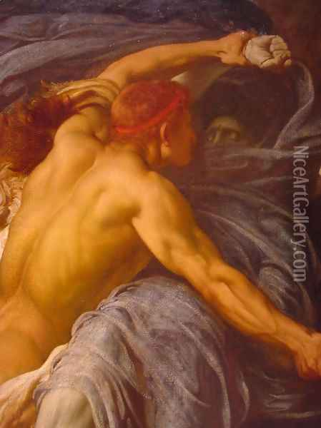 Hercules Wrestling with Death for the Body of Alcestis [detail #1] Oil Painting - Lord Frederick Leighton