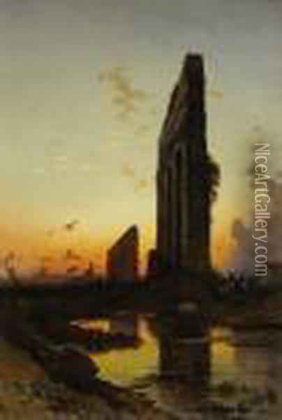 Sunset By The Ruins Oil Painting - Hermann David Salomon Corrodi