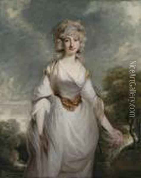Portrait Of Lady Almeria  Carpenter (1752-1809),three-quarter-length, In A White Dress With A  Chiffon Shawl, In Alandscape Oil Painting - Richard Cosway