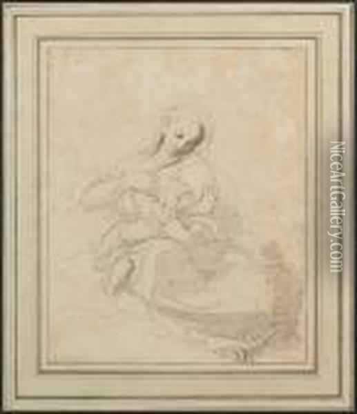 A Sketch Of A Mother, Wearing Loose Robes, With A Child At Her Breast Oil Painting - Richard Cosway
