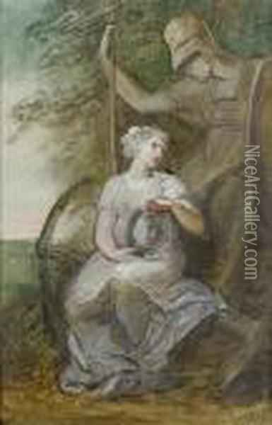The Figure Of Hope At The Feet Of Brittania Oil Painting - Richard Cosway