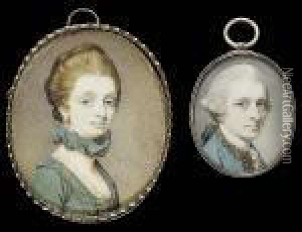 Two Portraits Of Alexander Hume  And Anna Hume; He Wearing Blue Coat With Gold Edging And Matching  Waistcoat, White Stock And Lace Shirt, His Hair Powdered And Worn Oil Painting - Richard Cosway