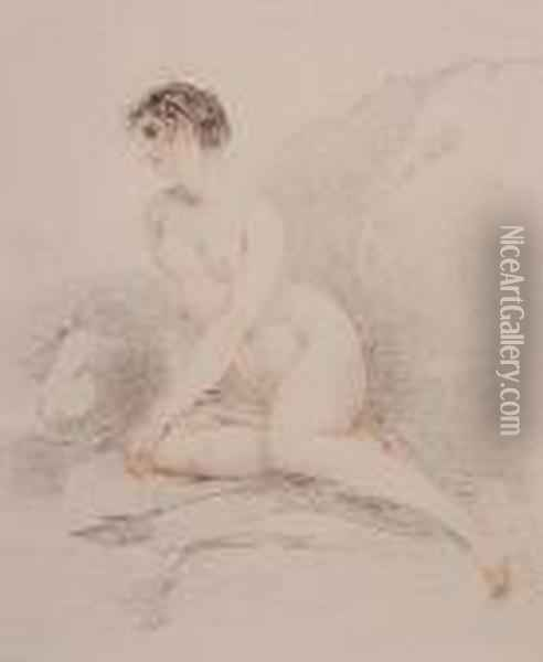 Study Of A Reclining Female Nude Oil Painting - Richard Cosway