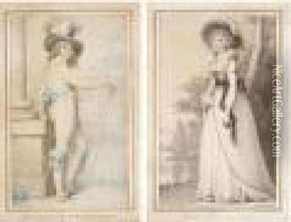 The Honourable Mrs E. Bouverie; Mrs Horace Beckford Oil Painting - Richard Cosway