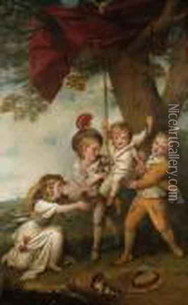 The Boyle Children: Group Portrait Of The Children Of Edmund Boyle,7th Earl Of Cork Oil Painting - Richard Cosway