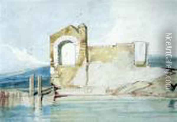 Ruins By A Lake Gerald Norman Gallery Label Verso Oil Painting - John Sell Cotman
