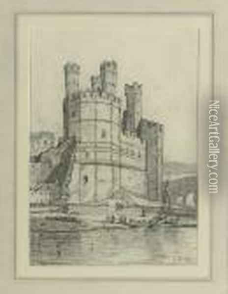 The Eagle Tower, Caernarvon Castle, North Wales Oil Painting - John Sell Cotman