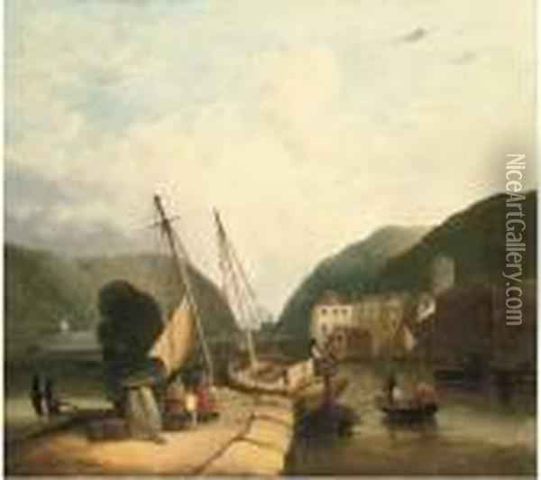 Figures In A Harbour, Loading Supplies Oil Painting - John Sell Cotman