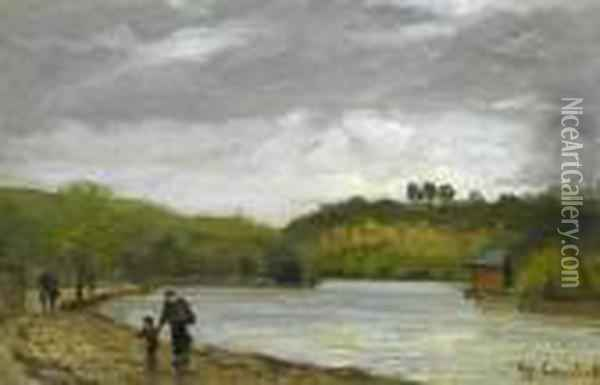 People Walking Along The Seine. Oil Painting - Gustave Courbet