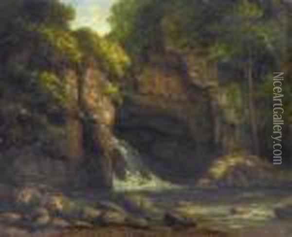 Forest Landscape With Waterfall Oil Painting - Gustave Courbet