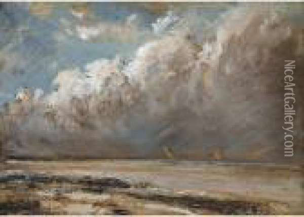 Plage Normande A Maree Basse Oil Painting - Gustave Courbet