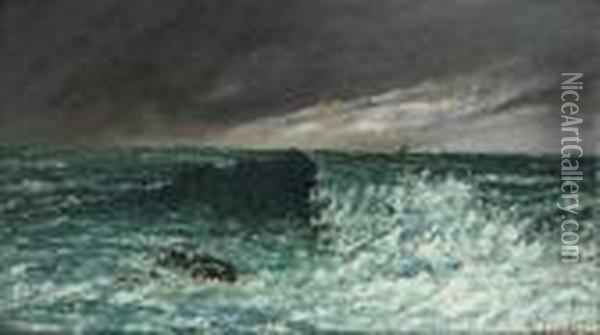 La Vague Oil Painting - Gustave Courbet