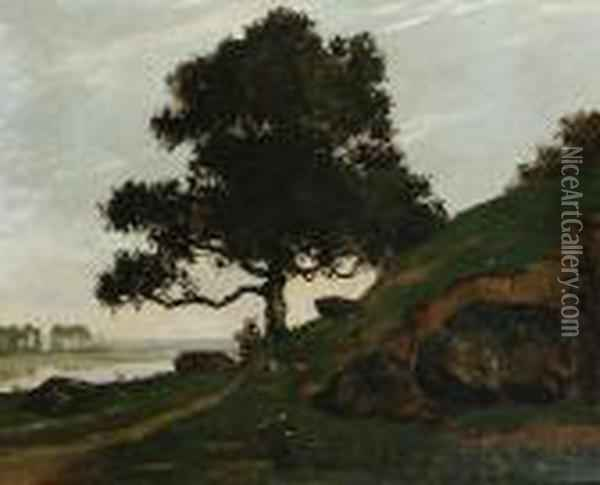 River Scene With Trees And Boulders Oil Painting - Gustave Courbet