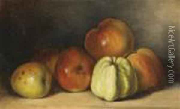 Studio Still Life Withapples Oil Painting - Gustave Courbet
