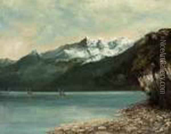 Le Lac Leman Et Les Dents Du Midi Oil Painting - Gustave Courbet