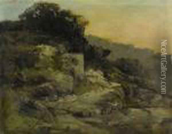 Falaise Et Rochers Oil Painting - Gustave Courbet