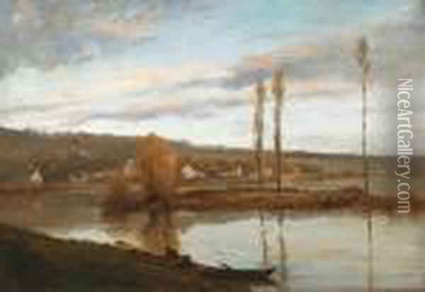 Seine A Bougival Oil Painting - Gustave Courbet