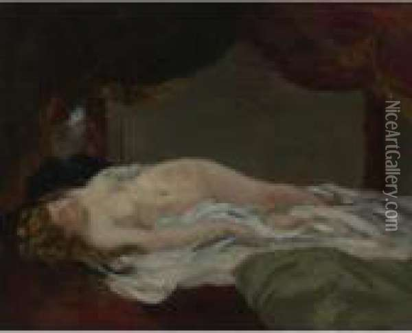 Femme Endormie Oil Painting - Gustave Courbet