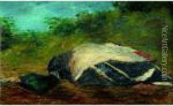 Duck In A Landscape Oil Painting - Gustave Courbet