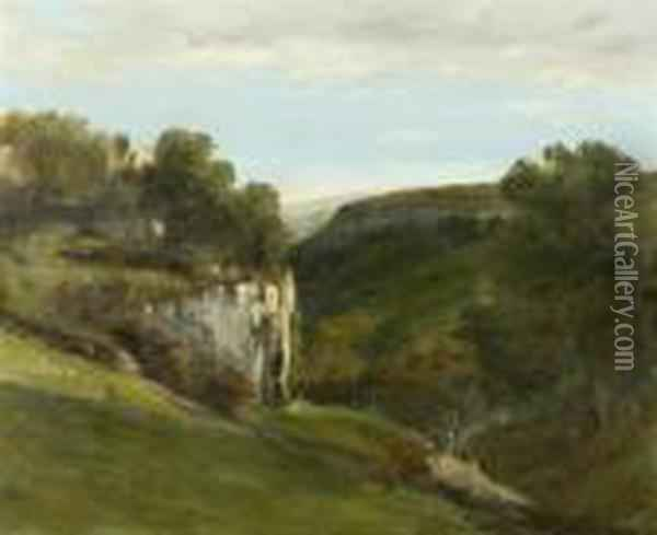 Landscape With A Rock Face Oil Painting - Gustave Courbet