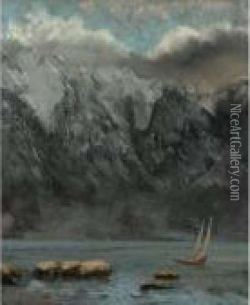 Bords Du Lac Leman Oil Painting - Gustave Courbet