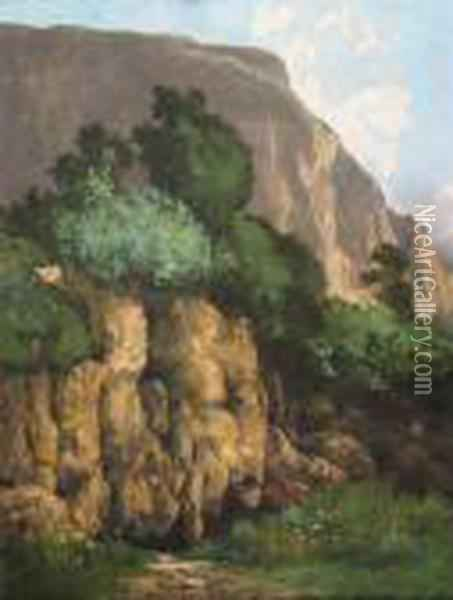Mountainous Landscape Oil Painting - Gustave Courbet
