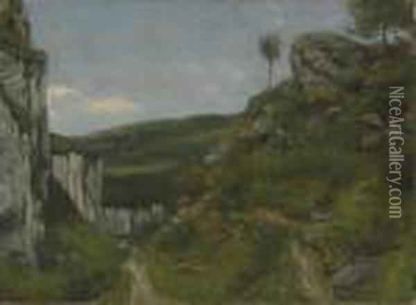 Jura Landscape Oil Painting - Gustave Courbet