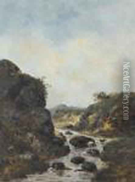 Bachpartie Mit Storch Oil Painting - Gustave Courbet