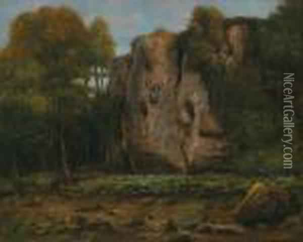Landscape With Rocky Outcrop In An Autumnal Light Oil Painting - Gustave Courbet