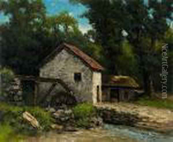 Paysage Au Moulin Oil Painting - Gustave Courbet