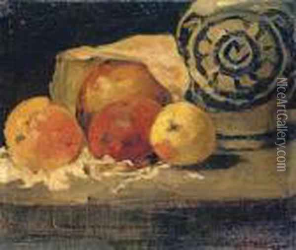 Pommes Et Pot En Gres Oil Painting - Gustave Courbet