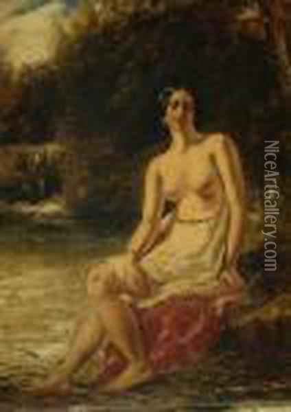 A Female Half Nude In A Landscape Oil Painting - Gustave Courbet